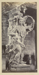 Carved figure in Tinnevelly [Tirunelveli] Pagoda. Colossal figure of Kuman